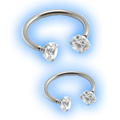 Internal Titanium Circular Barbell Claw set gems - 1.2mm (16 gauge)