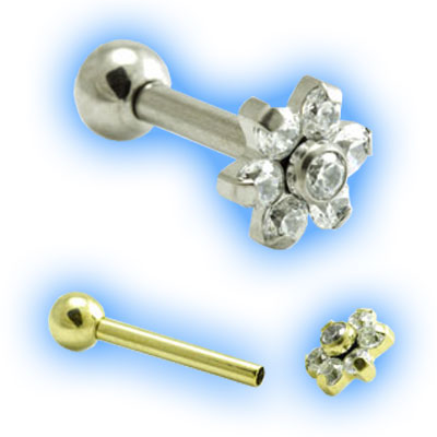 1.6mm (14g) Titanium Internally Threaded Barbell with Gem Flower and Ball