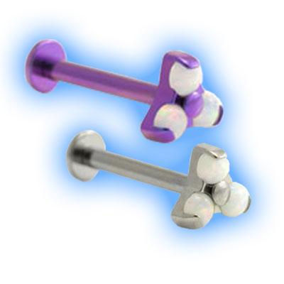 1.6mm (14g) Titanium Internally Threaded Barbell with Trinity Opal and Disc