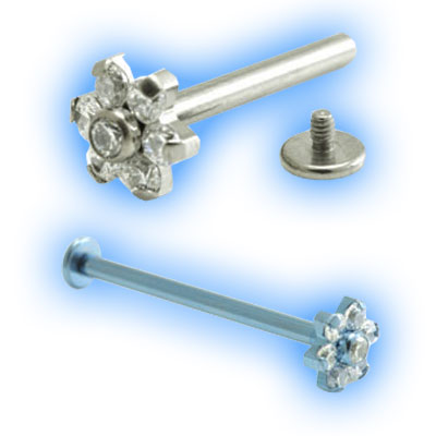 1.6mm (14g) Titanium Internally Threaded Barbell with Gem Flower and Disc