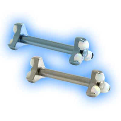 1.6mm (14g) Titanium Internally Threaded Barbell - Double Trinity Opal