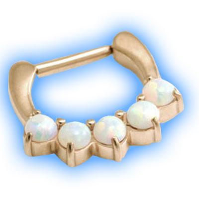 Rose Gold PVD 5 Opal Septum Clicker