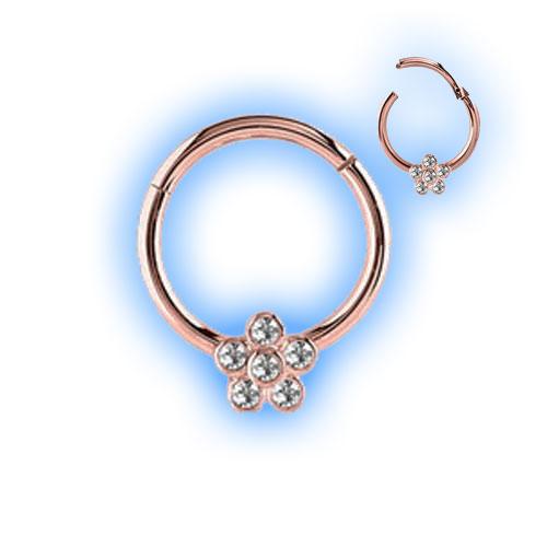 Rose Gold PVD Flower Hinged Segment Ring