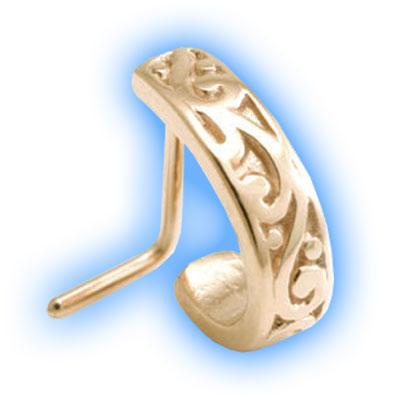 Rose Gold PVD L Shaped Nose Stud - Filigree Design
