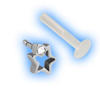 Bioflex Push Fit Labret - Outline Gem Star