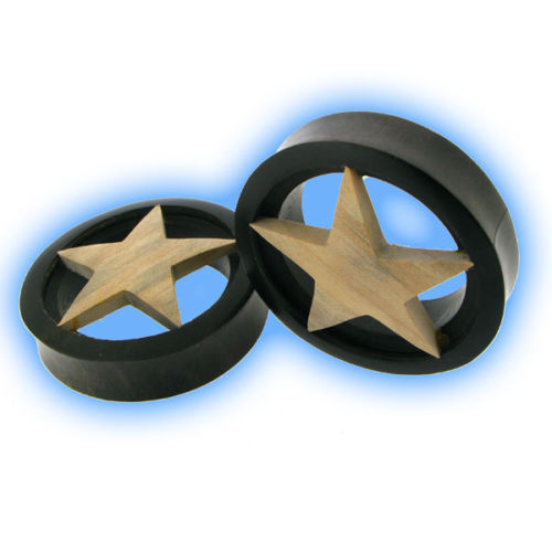 Pair of 48mm Ear Tunnels Eyelets Wood Star Organic Stretched Lobes Plugs Unusual
