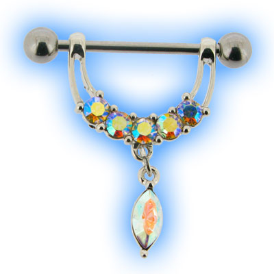 Crystal AB Jewelled Nipple Stirrup Dangle