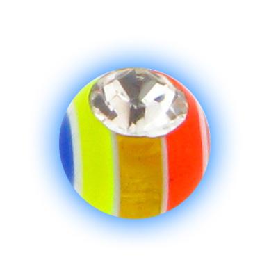 Spare Body Jewellery Ball - 1.6mm (14g) Rainbow Gem Stripe