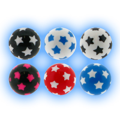 Spare Body Jewellery Ball - 1.6mm (14g) Acrylic Stars