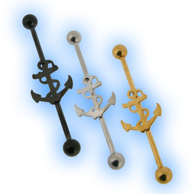 Scaffold Barbell with Anchor for Industrial Piercing