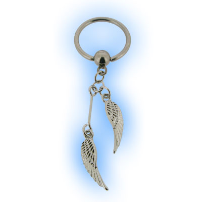 Stainless Steel Nipple Ring with Dangling Angel Wings
