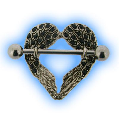 Jewelled Angel Wing Heart Nipple Shield