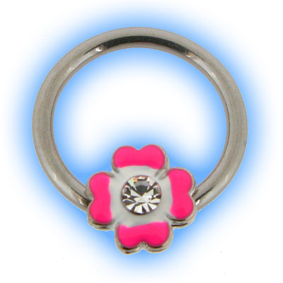 Stainless Steel Nipple Ring with Pink Flower