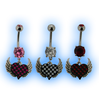 Belly Bar - Check Heart with Wings EMO Goth Punk