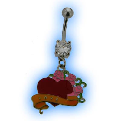 Belly Bar - Tattoo Love Heart Flower Design