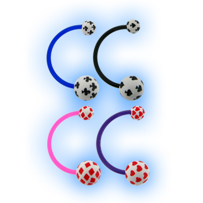 Bioplast Belly Bar with Acrylic Playing Cards Pattern Ball