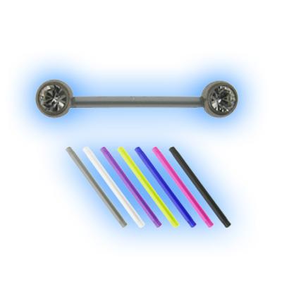 Bioplast 1.6mm (14G) Double Jewelled Nipple Barbell - Steel Balls