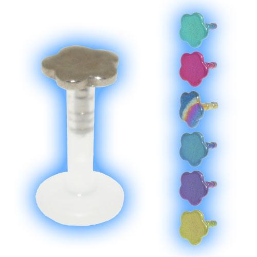 Bioflex Push Fit Labret - Titanium Flower