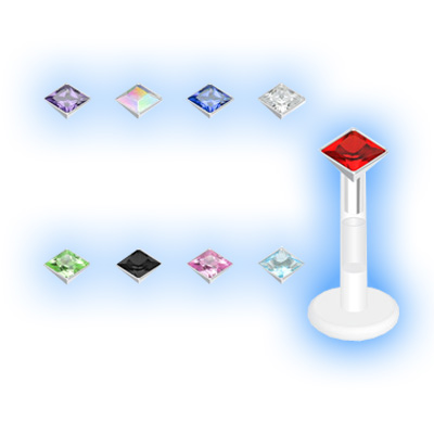 Bioplast Labret Encased Jewelled 2mm Square Stud