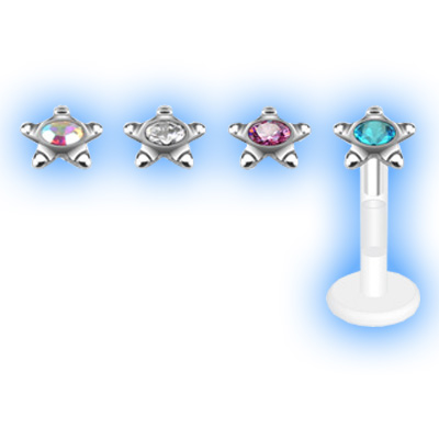 Bioplast Labret Gemset Star Outline Stud