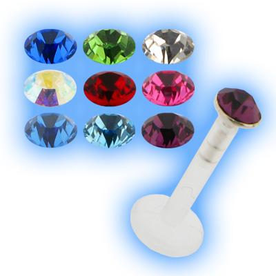 Bioplast Labret Silver Jewelled Stud