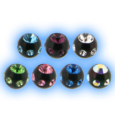 Black PVD Multi Jewelled Ball - 1.6mm (14g)