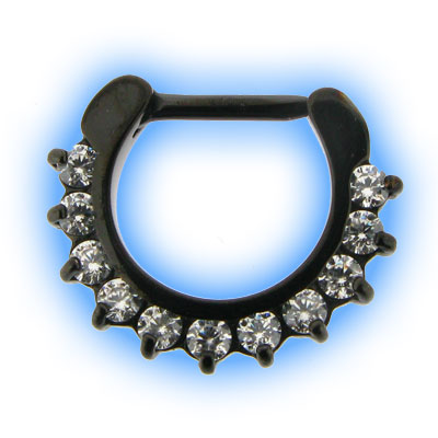 Black PVD Petal Gem Septum Clicker
