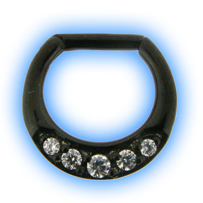 Black PVD Jewelled Septum Clicker