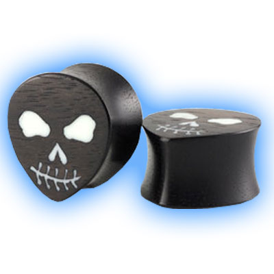 Pair of Black Areng Wood Organic Teardrop Wood Flesh Plugs with Skull