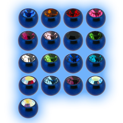 Blue Titanium Screw On Jewelled Ball - 1.2mm (16g)