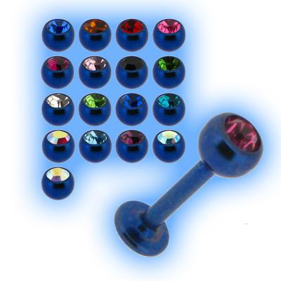 Blue Titanium Labret Stud & Jewelled Ball - 1.2mm (16g)