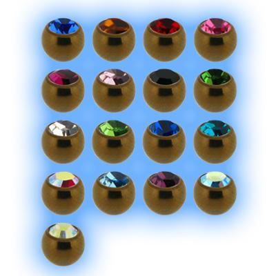 Bronze Titanium Screw On Jewelled Ball - 1.6mm (14g)