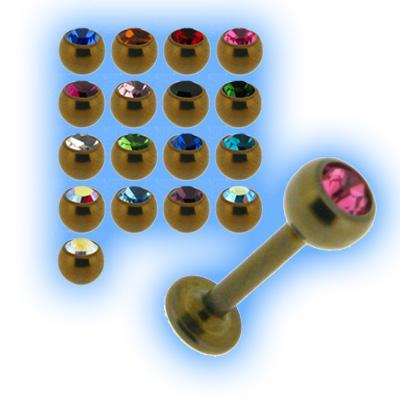 Bronze Titanium Labret Stud & Jewelled Ball - 1.2mm (16g)