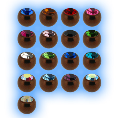 Brown Titanium Screw On Jewelled Ball - 1.2mm (16g)