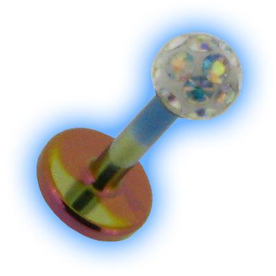 Titanium Labret Stud & Glitter Ball - 1.2mm (16G)