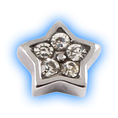 Stainless Steel Screw On Jewelled Star - 1.2mm (16g)