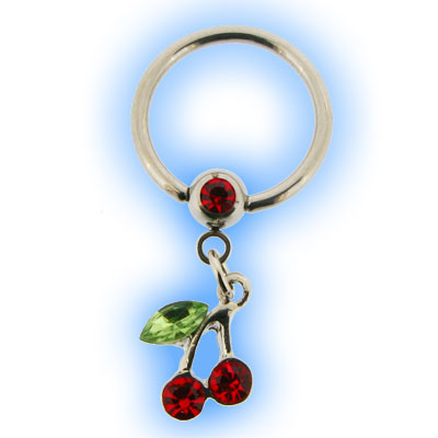 Stainless Steel Nipple Ring with Dangling Cherries