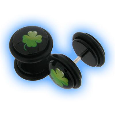 Acrylic Fake Ear Plug - Lucky 4 Leaf Clover
