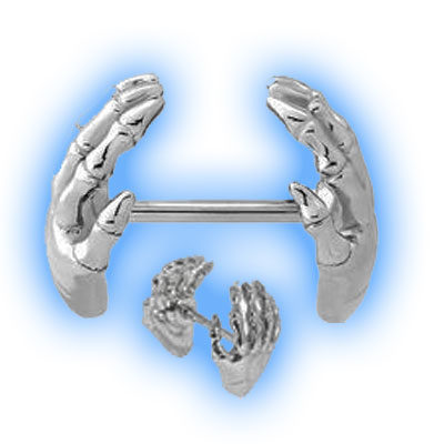 Nipple Piercing Barbell with Cupped Skeleton Hands