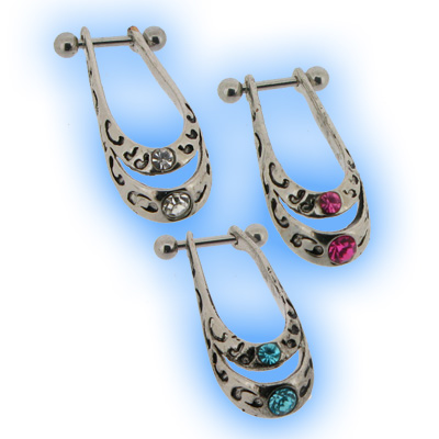 Upper Ear Piercing Barbell - Jewelled Tribal Design