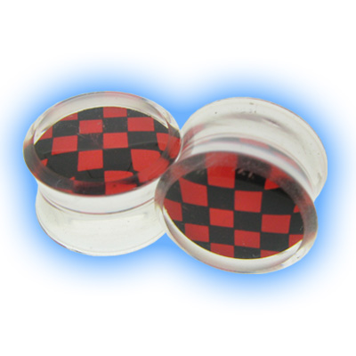 Acrylic Checker Flesh Plug - Red