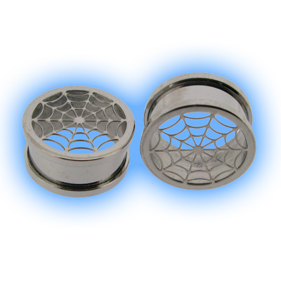 Stainless Steel Screw Ear Tunnel - Spiders Web