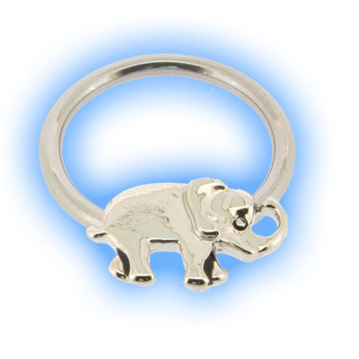 Stainless Steel Nipple Ring with Elephant