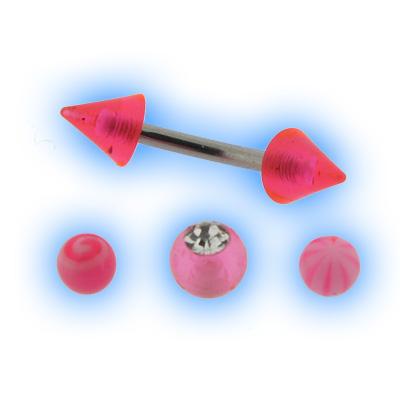 Pink acrylic interchangeable Eyebrow Bar set