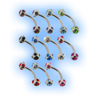Multi Jewelled Double Ball Barbell