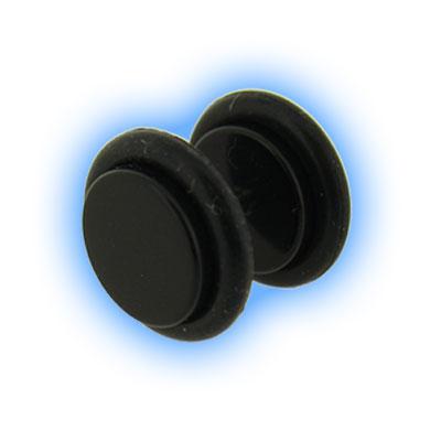 Fake Ear Plug Black Acrylic