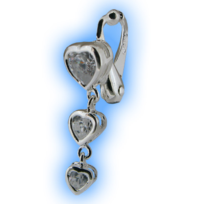 Clear Heart Trio Fake Belly Ring