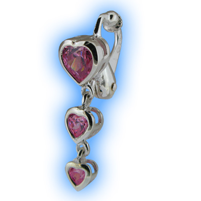Clip on Belly Ring Pink Heart Trilogy