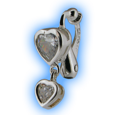 Clip on Belly Ring Clear Heart Duo