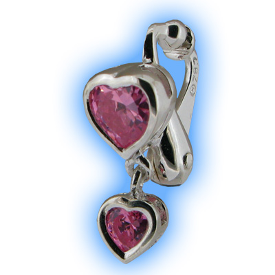 Pink Heart Duo Fake Belly Ring